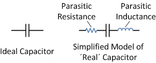 simplified model of capacitor with parasitic effects